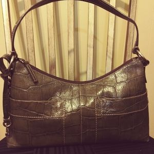 Authentic Fossil Olive Croc Embossed Leather Satch